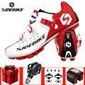 SIDEBIKE обувь для горного велоспорта для мужчин добавить педаль SPD комплект велосипед дышащий Pro самоблокирующиеся MTB велосипедные туфли спорт...