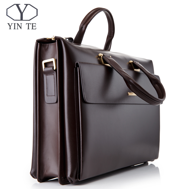 YINTE Business Men's Briefcase Leather 14 Inch Laptop Bag High Quality Messenger Large Capacity Men's Totes Portfolio T8182-3