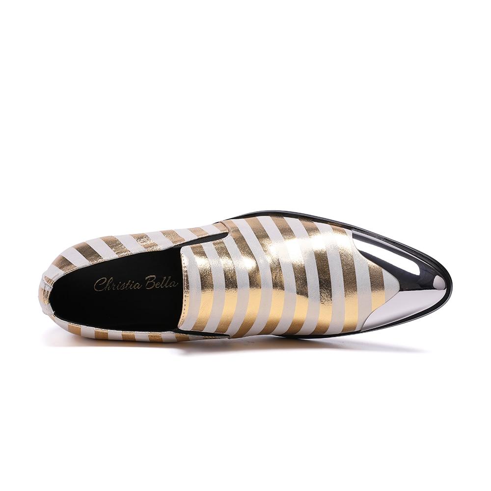 Couro Deslizamento Sapatos Dos Mens Listras Christia Multi Casual Da Genuíno Moda De Bella Sapatas Estilo Clube Britânico Em Marca Zebra colorido Homens xF7pXq
