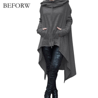 BEFORW 2017 Autumn And Winter Solid Color Long Sleeved Hooded Hoodie Pretty Korean Hoodies Winter Preferred