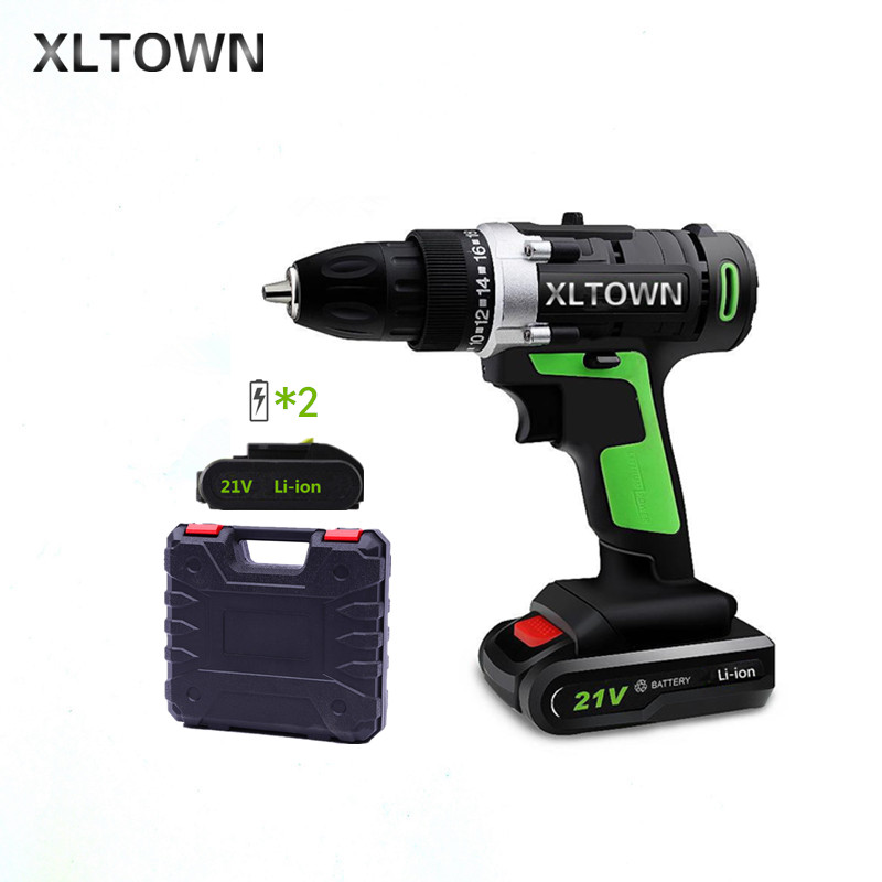 XLTOWN new 21v Home Cordless Electric Drill with 2 battery a box Multi-Motion lithium battery Rechargeable Electric Screwdriver xltown new 21v rechargeable lithium battery electric screwdriver with 2 battery high quality electric drill tools free shipping