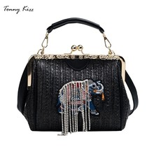 Tonny Kizz Elephant luxury handbags women bags designer straw crossbody beach shoulder messenger bag summer bolsa feminina