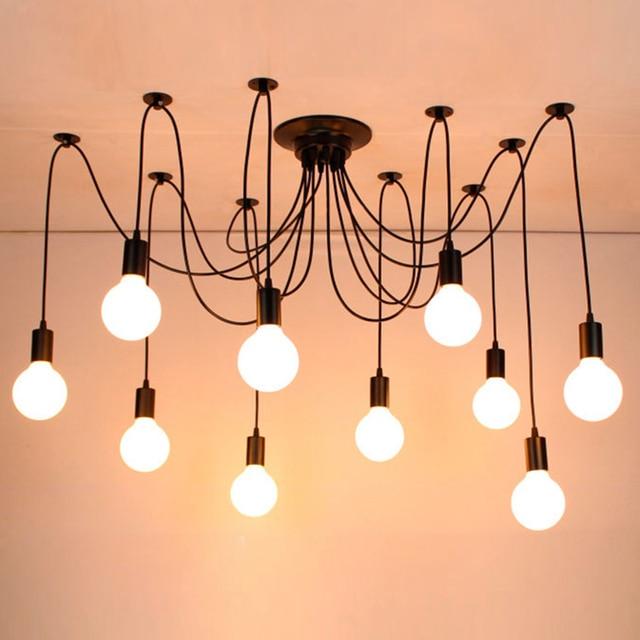 Modern DIY big Spider Industrial black vintage pendant Lamps Loft led E27 AC 110V 220V pendant lights for living room kitchen