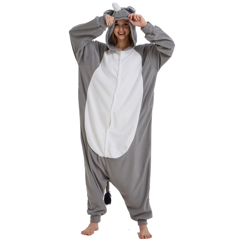 Men Adult Funny Cute Rhinoceros Kigurumi Gray Pajamas Cosplay Costume Animal Onesies Rhino Sleepwear (5)