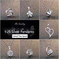 New Fashion 925 Sterling Silver Jewelry Heart Crystal Pendants fit Necklaces Women Wedding Pendant & Charms Jewelry Gifts