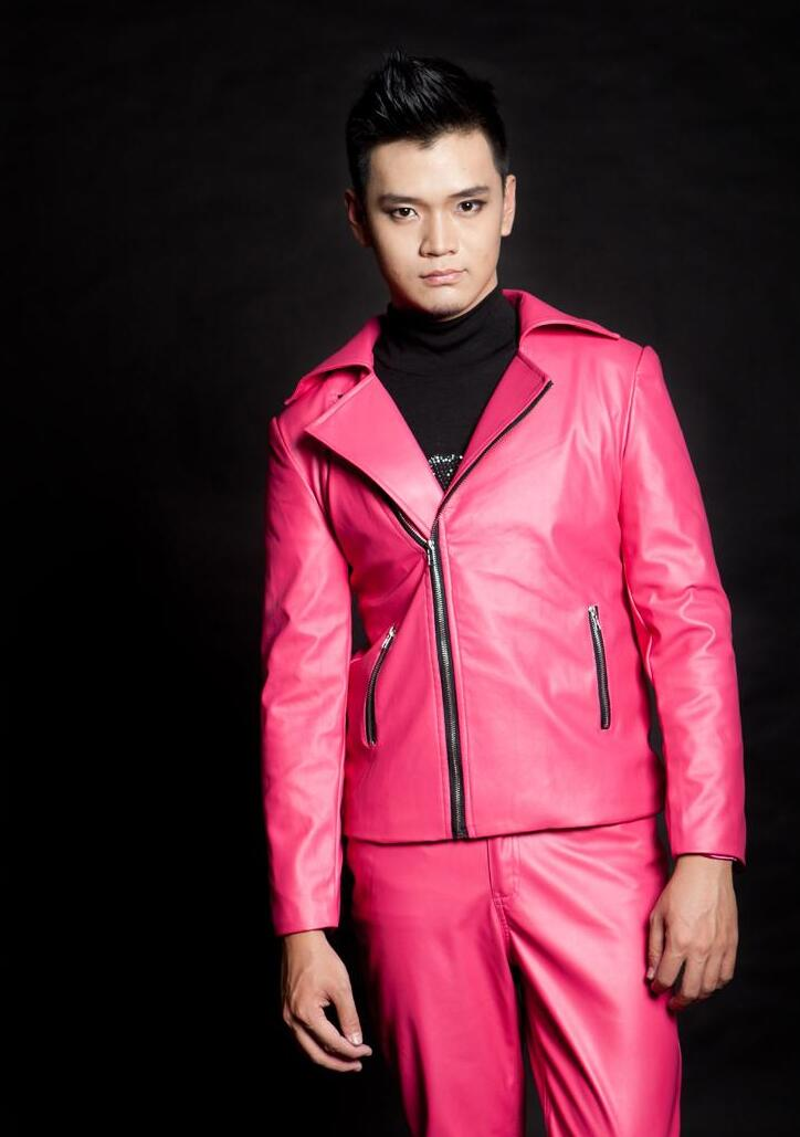 Hombres chaquetas de cuero trajes terno escenario trajes para ...