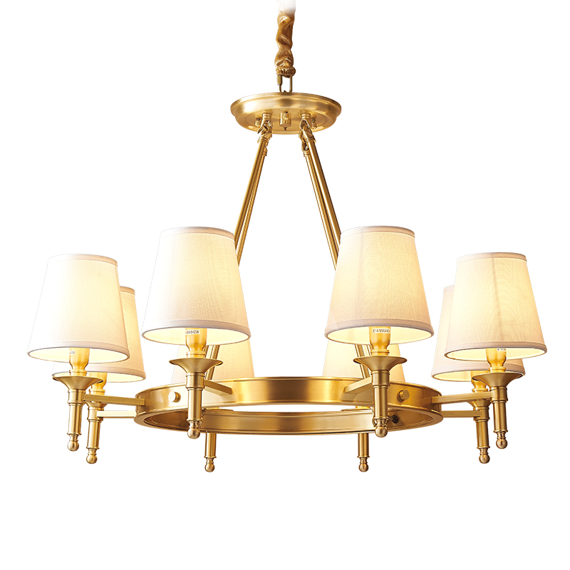 Copper Lamp Chandelier Light Living Room 6 arm 8 arm 3W E14 circle Lighting Luxury Lamp Modern lampadari Suspendsion ceilling