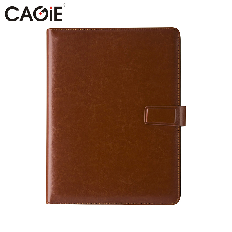 CAGIE Brown Buainess Office Pu Leather File Folder for Documents Padfolio A4 Clipboard Folderportafolios carpeta cagie key holder a4 file zipper folder multifunction real estate company office manager folder business padfolio bag