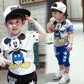 Muchachos de los niños fijan bebé ya niños Mickey ropa establece Girls Minnie de la historieta que arropan niño traje 2-7años