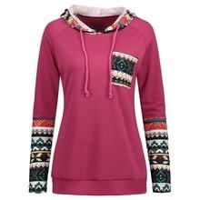 2017 Autumn Winter Women's Sportswear Ethnic Print Panel Tunic Hoodies Clothing Sweatshirt