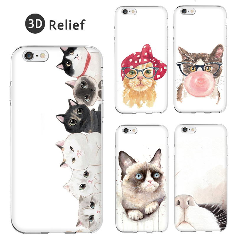 3D Relief Cool Silicone Soft Coque Fundas 6 6S 6Plus SE Painting Grumpy Cat Cute Painting Cover For iPhone 5 5S Clear Case