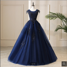 SUNTINGTING ball gown navy blue lace appliques prom dress