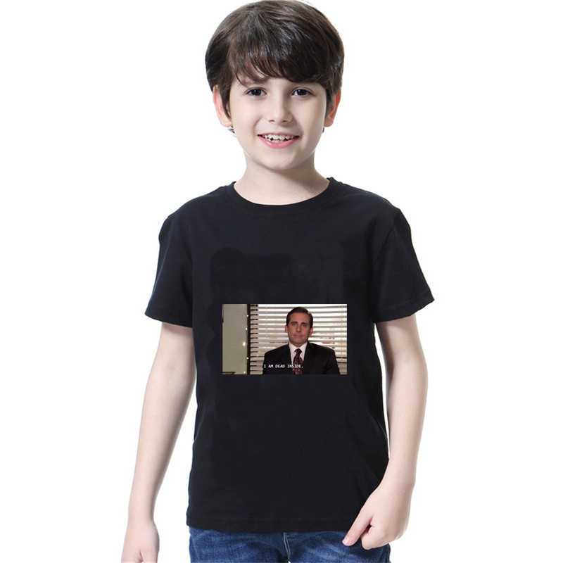 2019 Summer New Children's Office Michael Scott I Die Quotes Funny T-Shirt Boys and Girls Universal Fashion Solid Color T-Shirt image