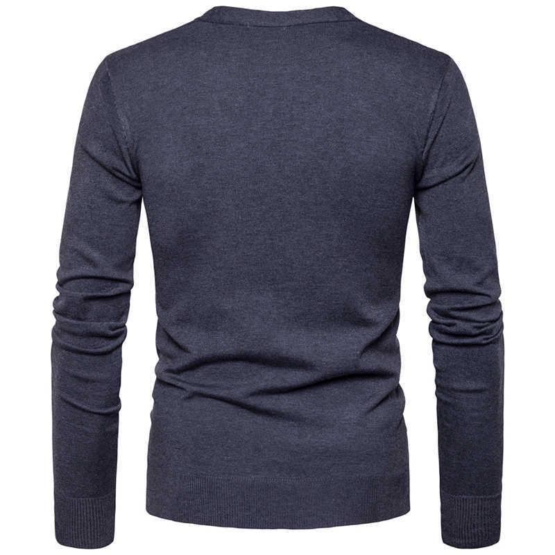 Мужские кардиганы на пуговицах свитера 2019 Новые повседневные мужские однотонные пуловеры V воротник толстый кашемировый свитер верхняя одежда EU/us размер