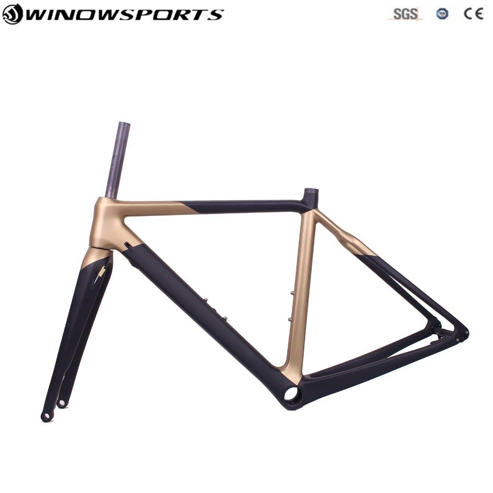 2019 Cyclocross gravier vélo carbone cadres route carbone roues, gravier frein à disque vélo Frameset avec Thru Axle142 * 12 gravier vélo
