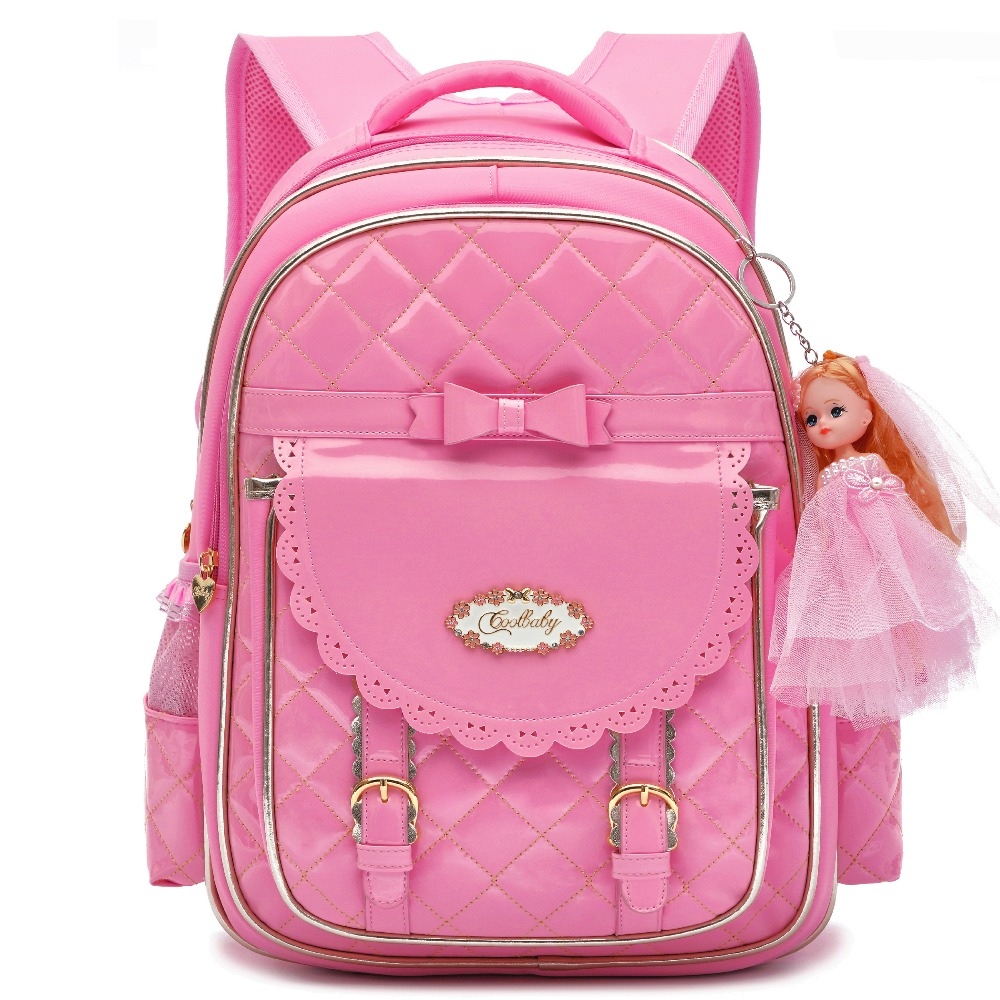 6d19284b9f3 Cute Waterproof PU Leather Backpack for Girls Bow Toddler School Bag  Daypacks Backpacking Purse for Primary