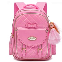 Cute Waterproof PU Leather Backpack for Girls Bow Toddler School Bag Daypacks Backpacking Purse for Primary Kindergarten Student