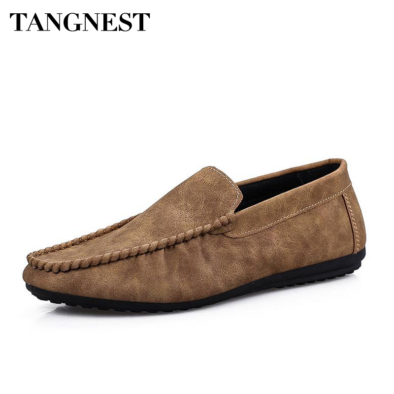 Tangnest 2017 Spring Man Driving Flats New Fashion Moccasins Slip On Shallow Man Loafers PU Leather Men Leisure Shoes XMR2612 2015 new spring and summer british top fashion leisure driving full grain embossed genuine leather slip on men s loafers shoes