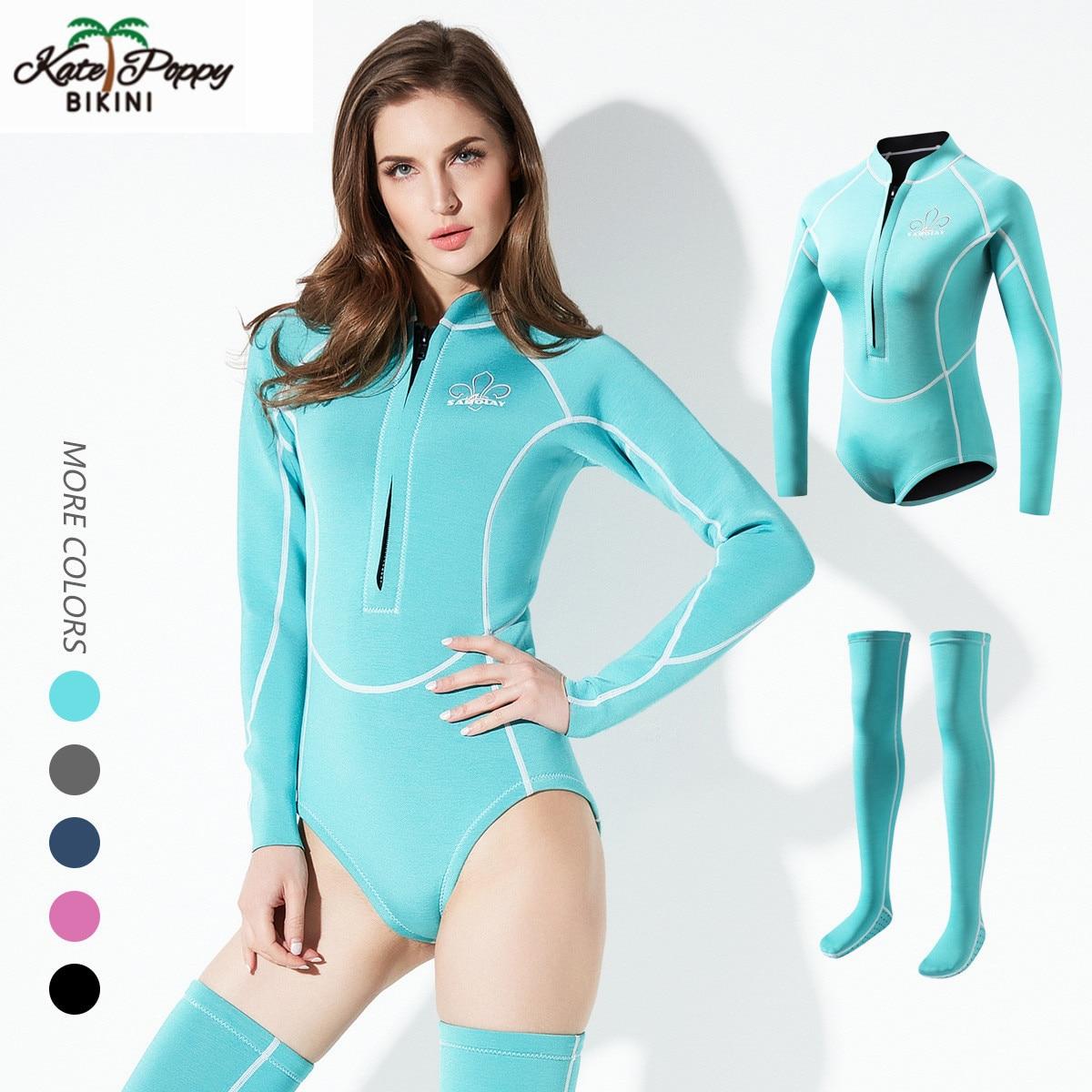 Combinaison de plongée pour femmes en néoprène Anti-UV garder au chaud les femmes à manches longues combinaison de plongée avec de longues chaussettes maillots de bain combinaison de plongée 2mm M-XXL