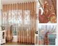 curtains sheer Cortinas for living room  Modern voile kitchen curtain with beads Luxury tulle  panel window curtians 4 colors