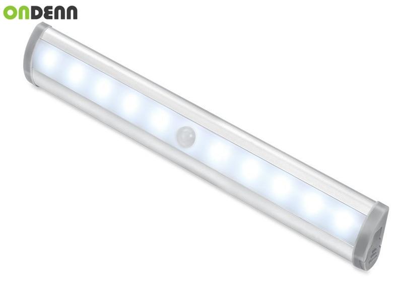 10LED Automatic Night Light Wireless Motion Sensor Cupboard Light Battery  Operated LED Strip Light White 2pcs