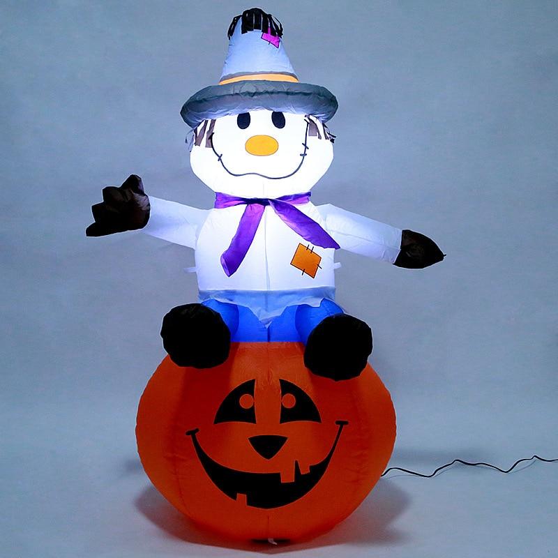 120 cm Géant Épouvantail Citrouille Gonflable Halloween Bogy LED Lumière Jouets En Plein Air Cour Décoration De Noël Nouvel An Parti Prop