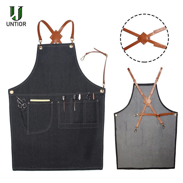 UNTIOR Denim Apron Fashion Cooking Kitchen Chef Waiter Cafe Shop BBQ Hairdresser Removable Denim Tools  Apron For Woman Men