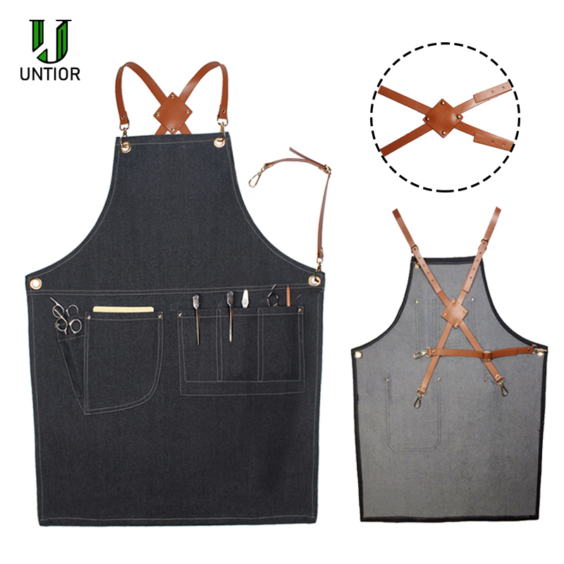 UNTIOR Denim Apron Fashion Cooking Kitchen Chef Waiter Cafe Shop BBQ Hairdresser Removable Tools  For Woman Men