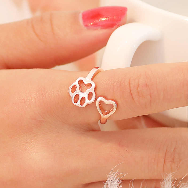 2018 New Fashion Women Girl Cute Simple Metal Love Heart Cat Dog Foot Open Adjustable Rings Animal Style Hollow Paw Ring Jewelry