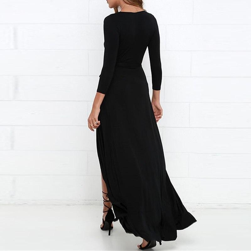 robe noire longue ռոմանտիկ զգեստ boho split Slim sexy - Կանացի հագուստ - Լուսանկար 5