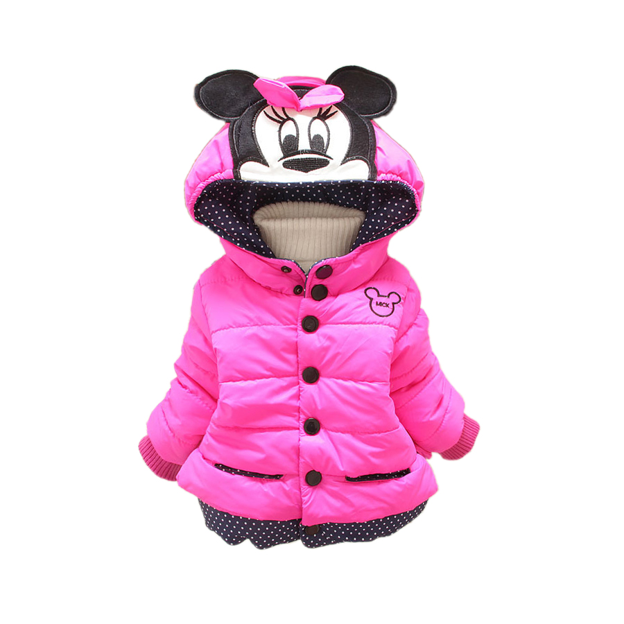 cute baby kids parkas coat cartoon mickey minnie Winter warm parkas coat for 1 3yrs little