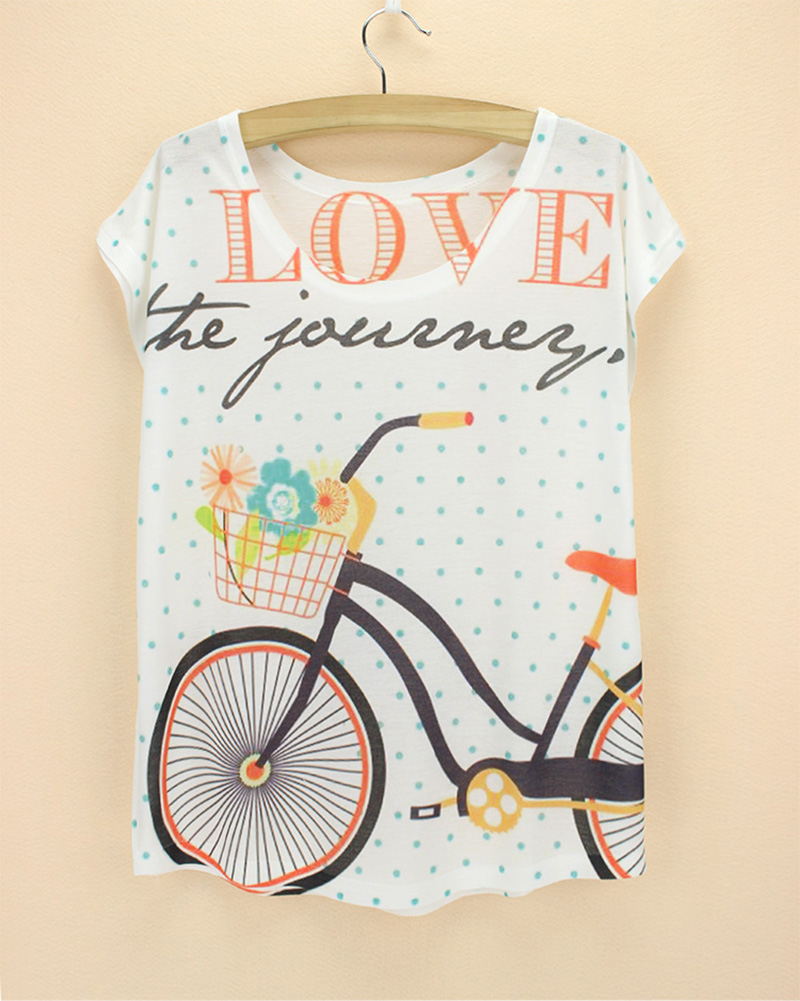 Design t shirts and sell online - 21 Novelty Styles Bicycle Print Tshirt Women 2015 Summer New Design Tee Girl Loos Top Tees Fashion Women S T Shirts Hot Sale