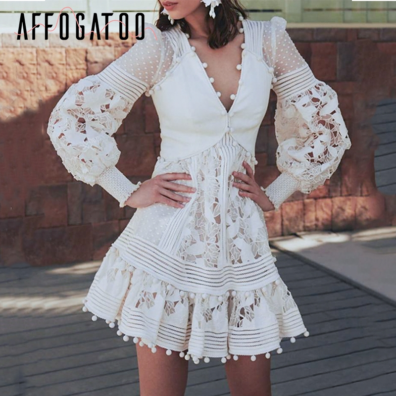 Affogatoo Elegant ruffle V neck lace embroidery white dress women Vintage hollow out winter dress High waist ladies party dress