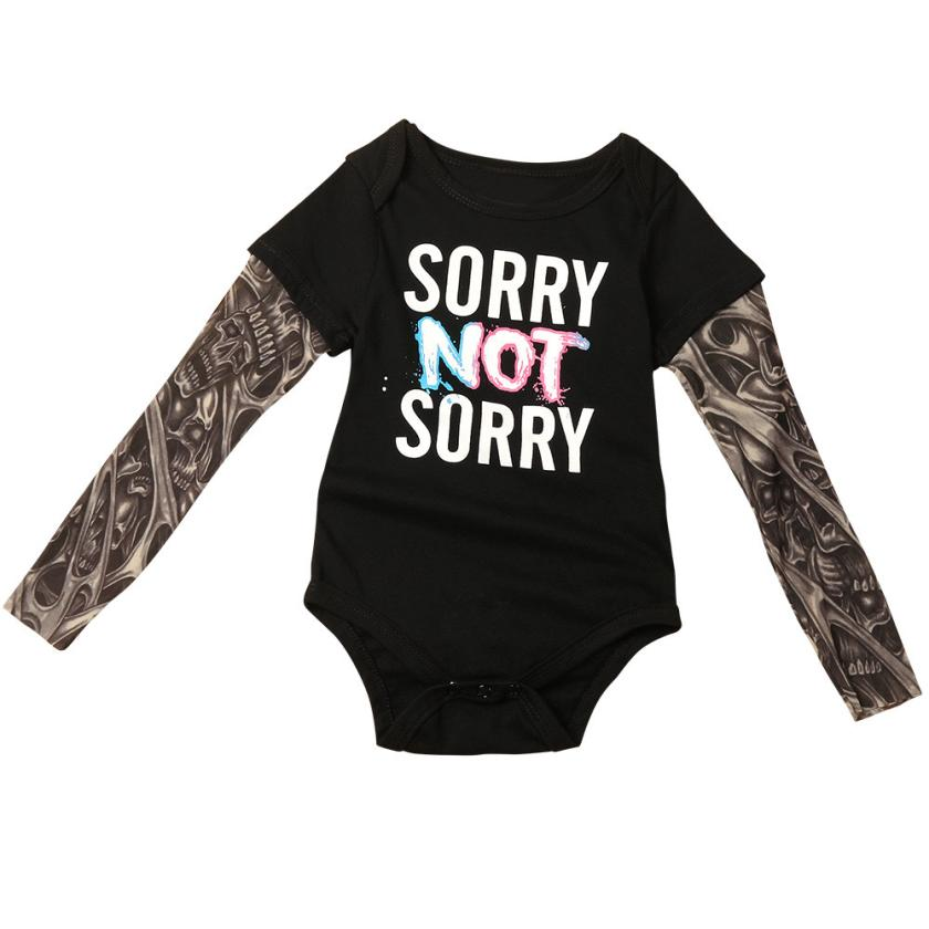 Infant Kids Baby Boys Tattoo Sleeve Letter Romper Jumpsuit Outfits Clothes Sep 7