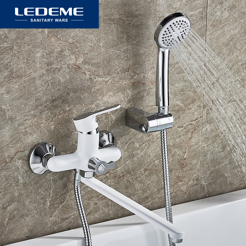 LEDEME Bathtub Faucets Set Hand Shower Head Bathroom Single Handle Chrome Plated Shower Bathtub Faucet Bath Faucet L2203 L2203W ledeme chrome plated bathroom bathtub faucets mixer shower set tap with hand brass bathroom bathtub faucet shower head set l2049