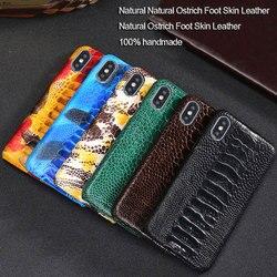 Luksusowe naturalne etui skóra nóg strusia etui dla iphone'a x XR XS etui prawdziwy prawdziwy skórzany tył pokrywa dla iphone 11 pro 7 8 Plus 5 5S SE|case for iphone|case pluscase for -
