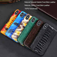 Luxury Natural Ostrich foot skin case For iPhone X XR XS case Real Genuine leather back cover For iphone 11 pro 7 8 Plus 5 5S SE