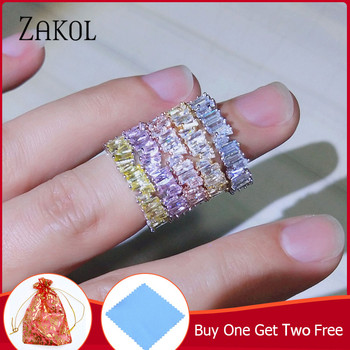 8e217b07701c ZAKOL nueva moda encanto de lujo AAA Baguette Zirconia cúbico boda anillo  para las mujeres Cz fiesta joyería de la boda envío gratis FSRP252
