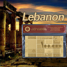WR Drop Shipping Gold Banknote Lebanese Pound 100000 Replica Paper Money Fake With Quality Package COA Frame