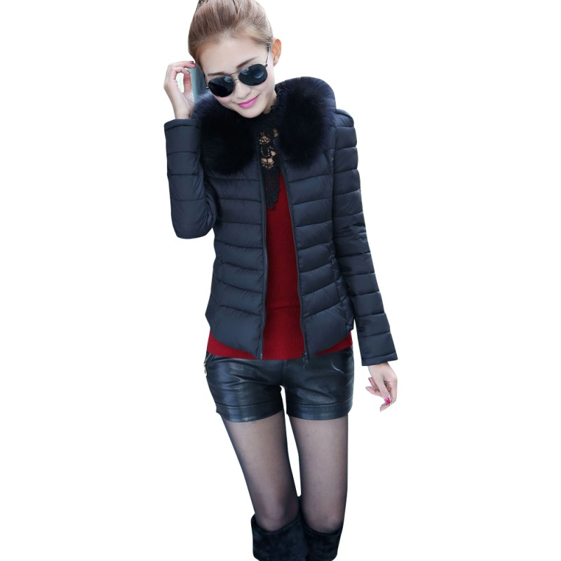2016 Brand New Outerwear Winter Women Down Cotton Parka Short Fur Collar Warm Coat Jacket M-XXL T55