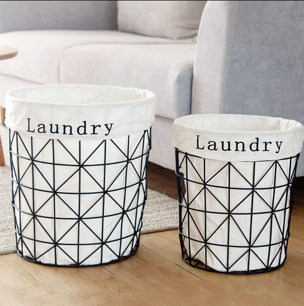 Nordic Ins Style Iron Dirty Clothes Storage Basket Organizer High Quality Simple Folding Large Laundry Hamper Home Decor LFB751