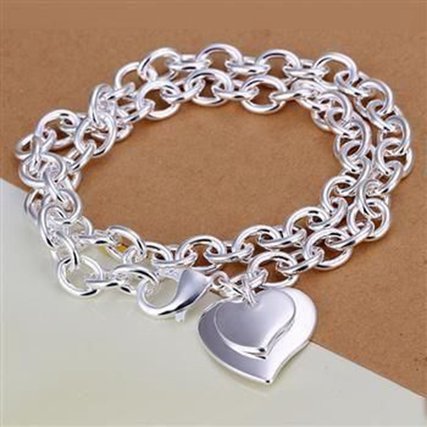 N252 high quality! 925 jewelry silver plated necklace, 925 jewelry jewelry Dual Hearts Necklaces