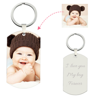 Amxiu Customize Photo Keychain Engrave Name Picture Keychains 925 Sterling Silver Jewelry Key Accessories Dog Cat Tag Key Chains