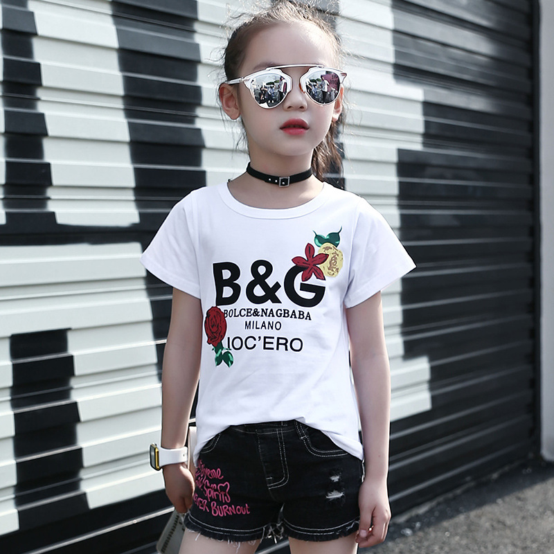 Girls Fashion Letter Print T Shirts Children Short Sleeve Soft Tops Teenagers Summer Cotton Slim Blouse For 4-12T AA51799