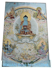 TNUKK 36 inch Tibet Silk embroidery gold silk embroidery,Golden cassock,medicine Buddha Thangka Paintings Mural.(China)