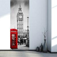 وهمية 3d ملصقات الباب لندن نمط بيغ بن كشك شارع مدينة مشهد جدارية ديكور الفينيل خلفيات