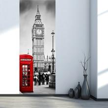77*200cm Fake 3d Door Stickers London Style Big Ben Telephone Booth Street Mural Home Decoration City Scenery Vinyl Wallpaper wallpaper city guide london 2014