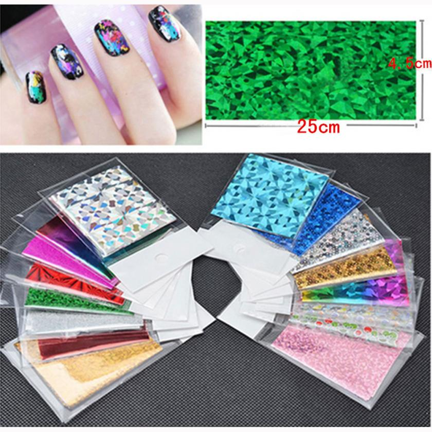MintSun 50Pcs Foils nail stickers water transfer sticker nail art Finger DIY Nail Art Sticker Decal Stickers Tips Decor 2M1214