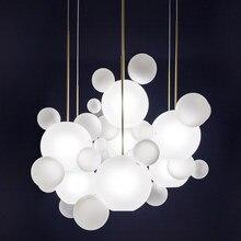 Новые Классические креативные подвесные светильники фойе матовое молочно-белое стекло шар пузырь droplight Отель Ресторан свет Бесплатная доставка