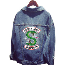 New Fashion Riverdale South Side Serpents Clothes Women Denim Jacket Hole Coat Female Baseball Hoodie Outerwear Tops Sweatshirts sweatshirts outerwear side zipper design women hoodie sweater coat